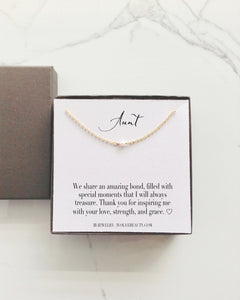 Aunt Gift Tiny Single Pearl Necklace | Meaningful Necklace | IB Jewelry