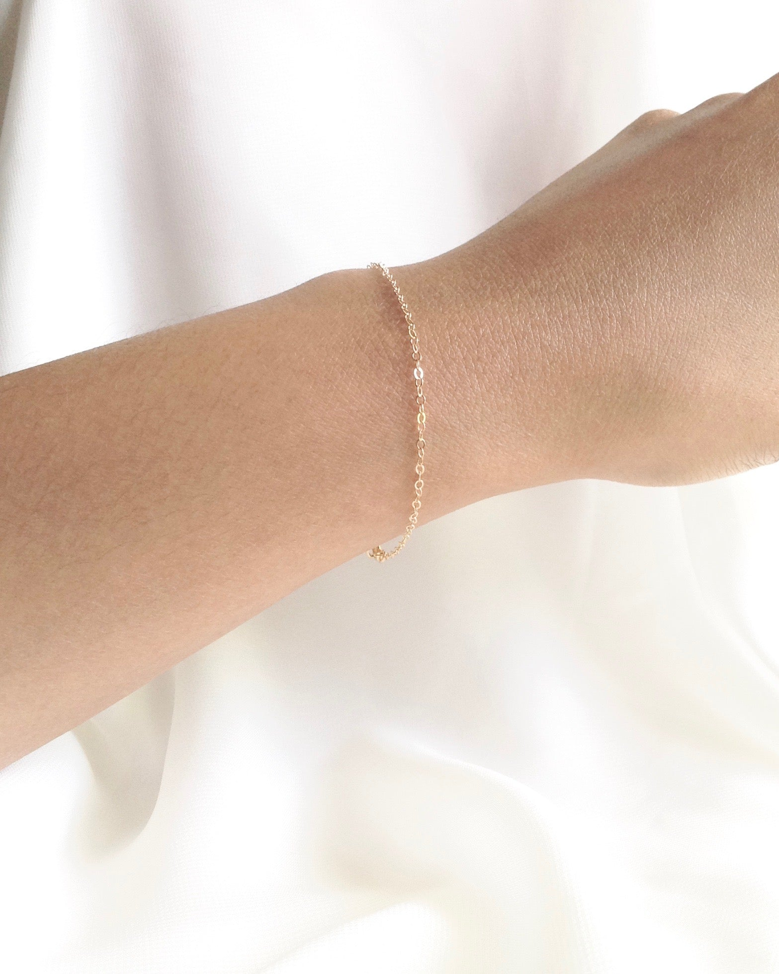 Minimal Thin Chain Bracelet in Gold Filled or Sterling Silver | IB Jewelry