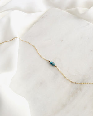 Dainty Turquoise Choker | Simple Choker in Gold Filled or Sterling Silver | IB Jewelry
