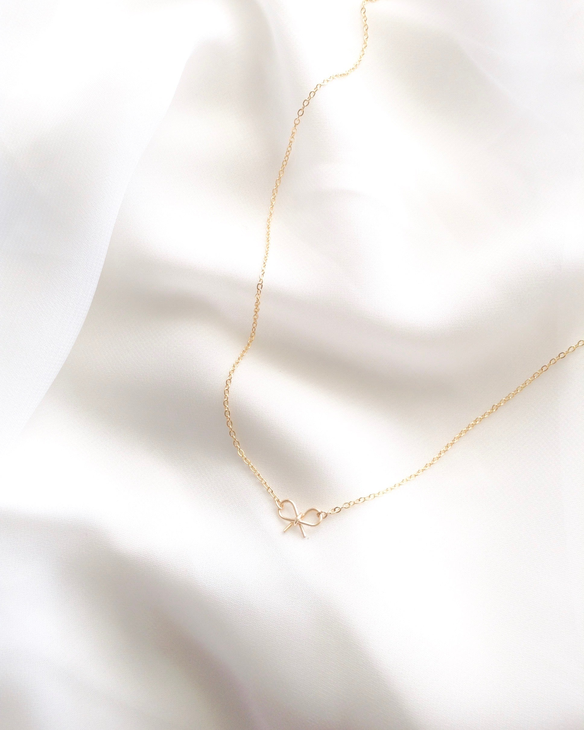 Simple Bow Necklace in Gold Filled or Sterling Silver | IB Jewelry