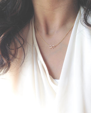 Small Dainty Bow Necklace in Gold Filled or Sterling Silver | IB Jewelry