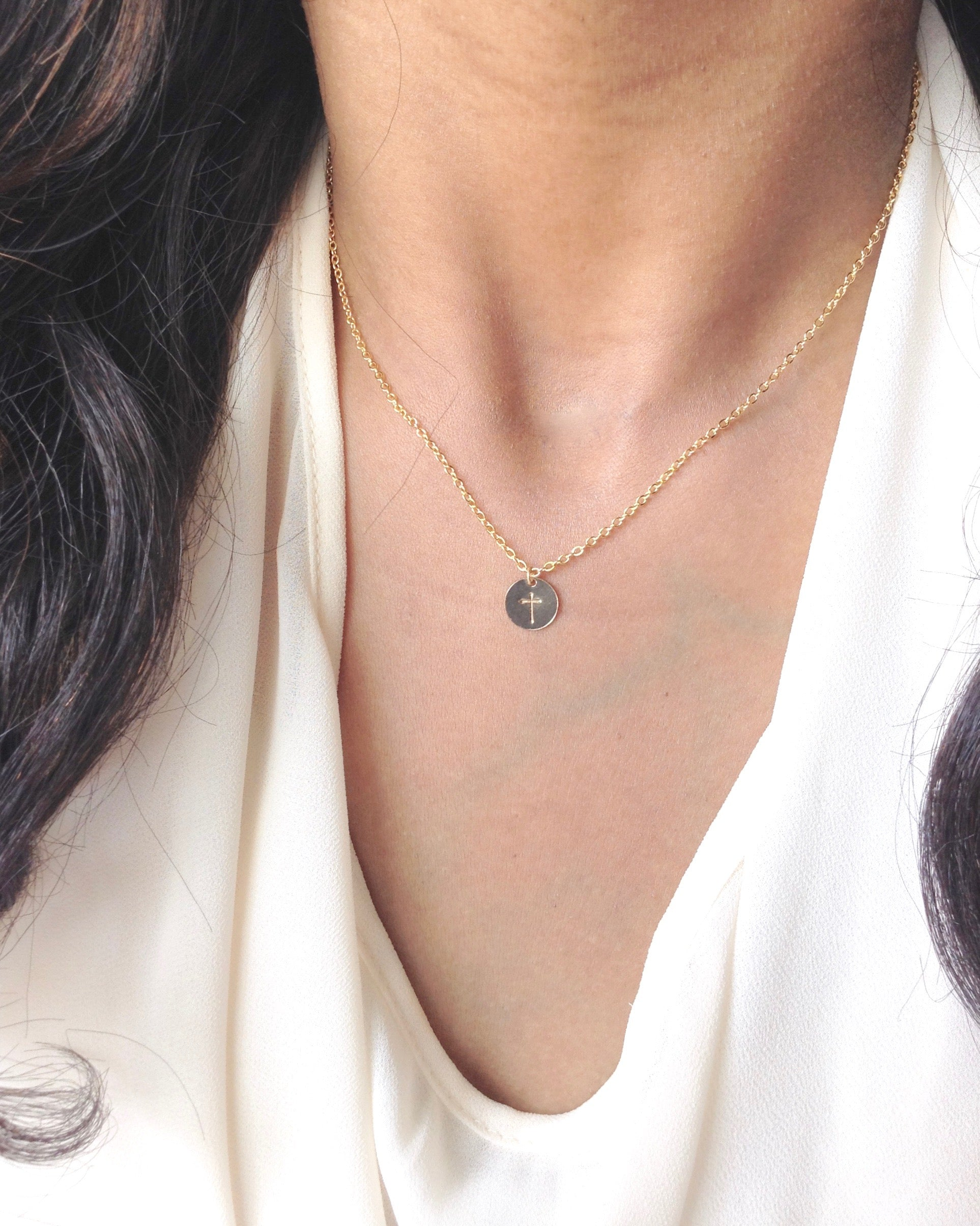 Tiny Simple Cross Necklace in Gold Filled or Sterling Silver | IB Jewelry