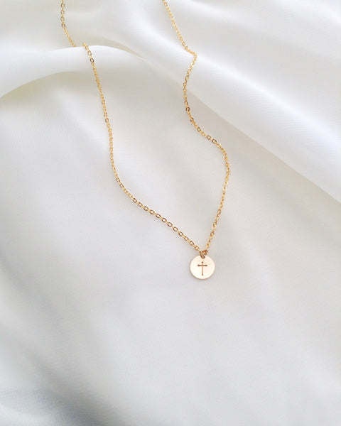 Simple Dainty Cross Necklace | Tiny Cross Necklace | IB Jewelry
