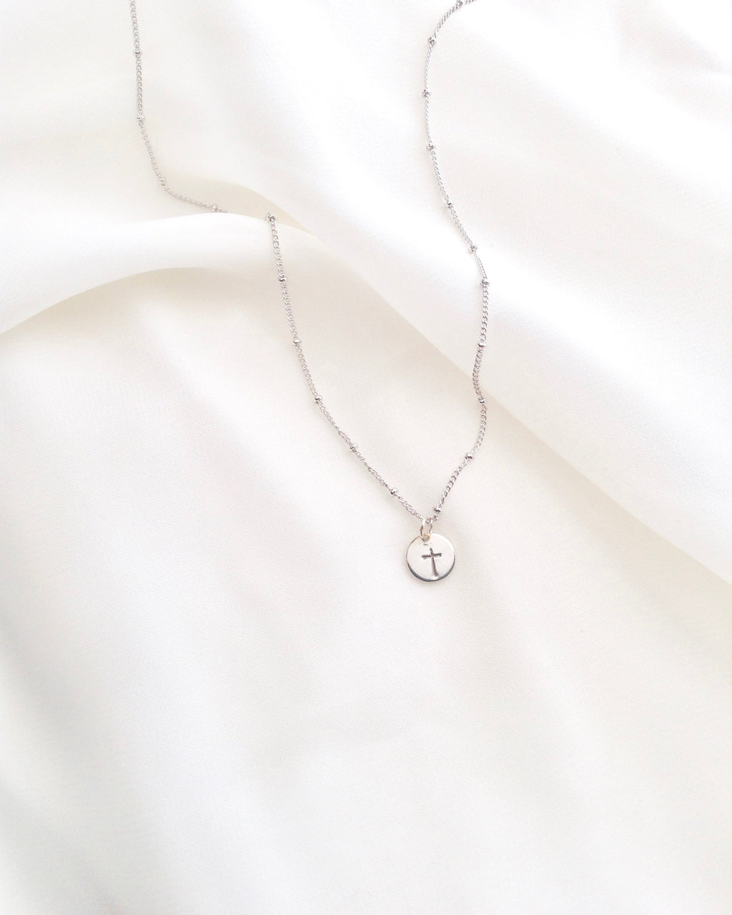 Dew Drop Cross Necklace | Delicate Minimalist Cross Necklace | IB Jewelry