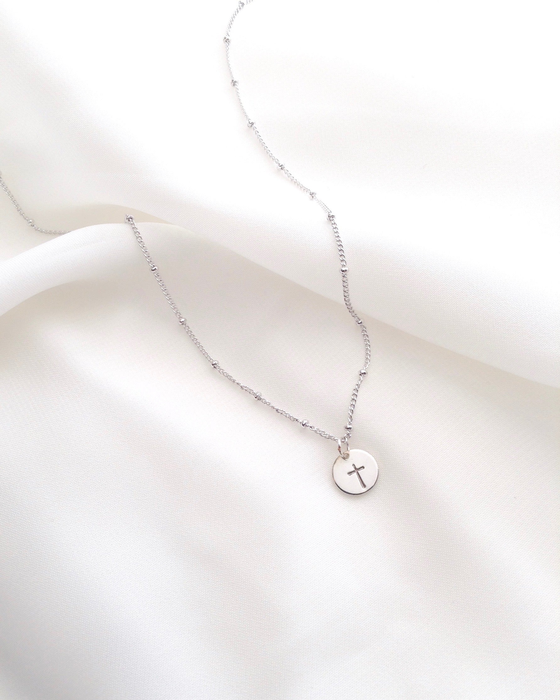 Minimalist Cross Dew Drop Necklace in Sterling Silver or Gold Filled | IB Jewelry