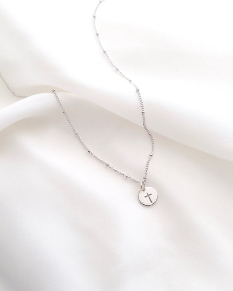 Cross Dew Drop Necklace | Simple Dainty Cross Necklace | IB Jewelry