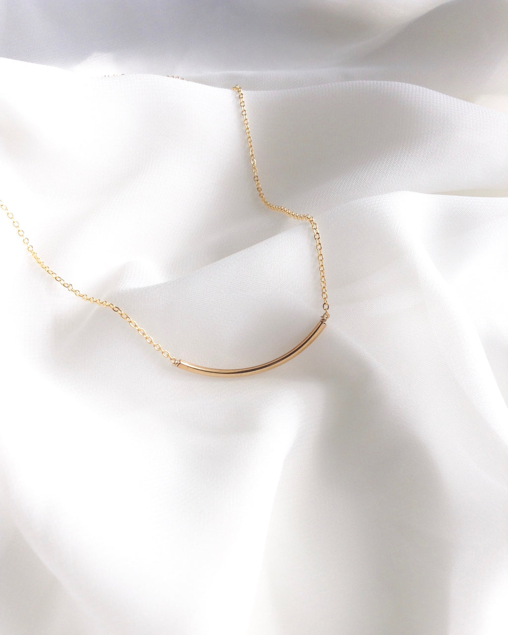 Curved Bar Necklace | Slim Bar Necklace in Gold Filled or Sterling Silver | IB Jewelry