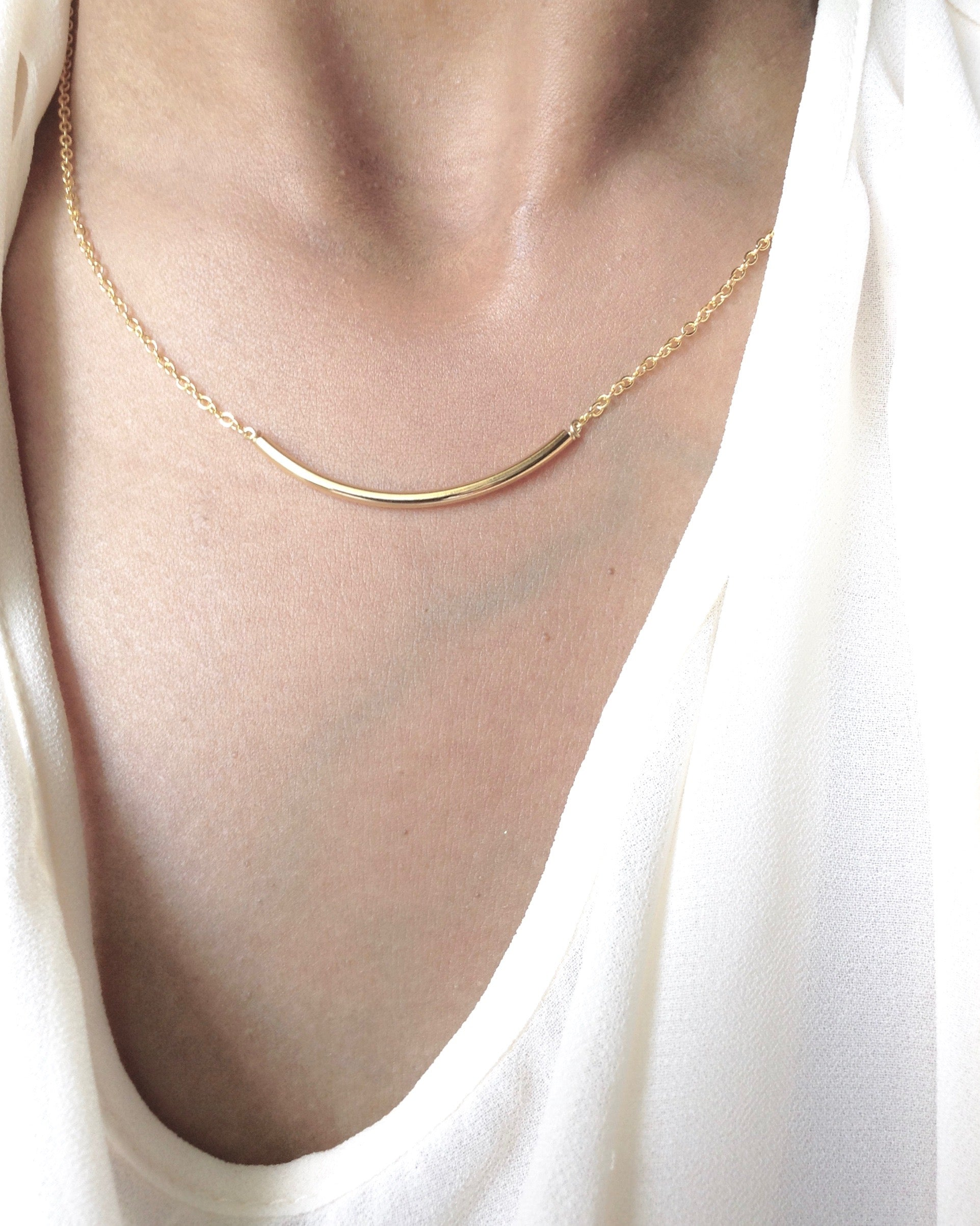 Thin Bar Necklace in Gold Filled or Sterling Silver | Minimalist Everyday Necklace | IB Jewelry
