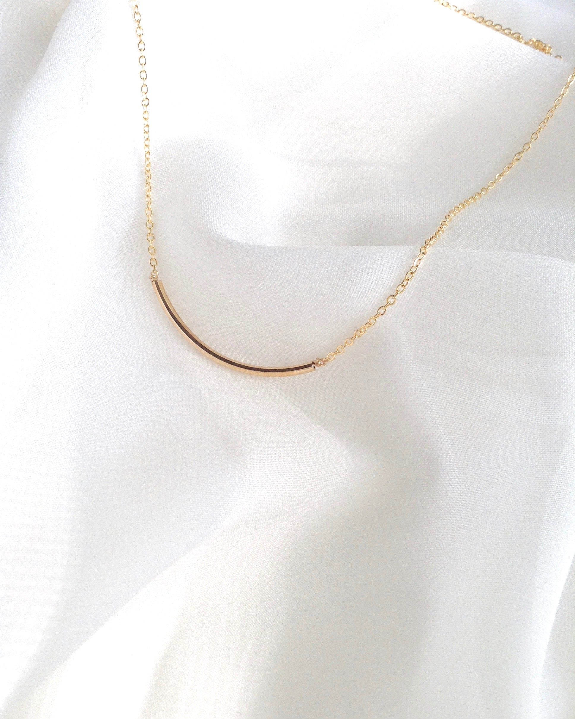 Curved Bar Simple Delicate Necklace in Gold Filled or Sterling Silver | IB Jewelry