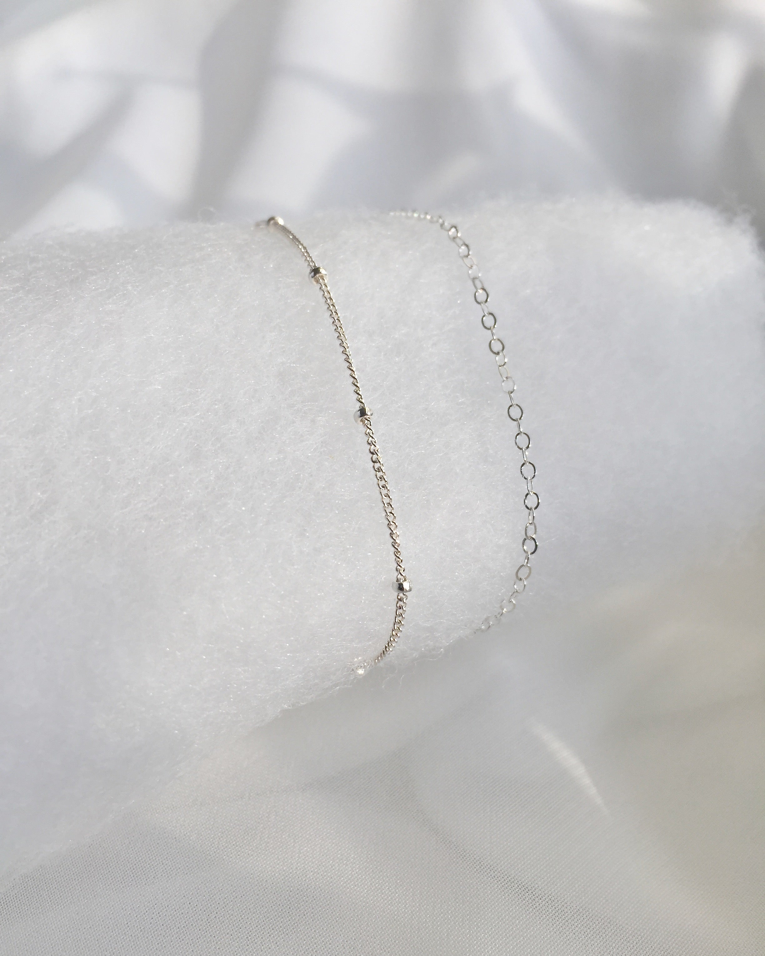 Delicate Thin Chain Bracelet Set | Dainty Layered Bracelet | IB Jewelry