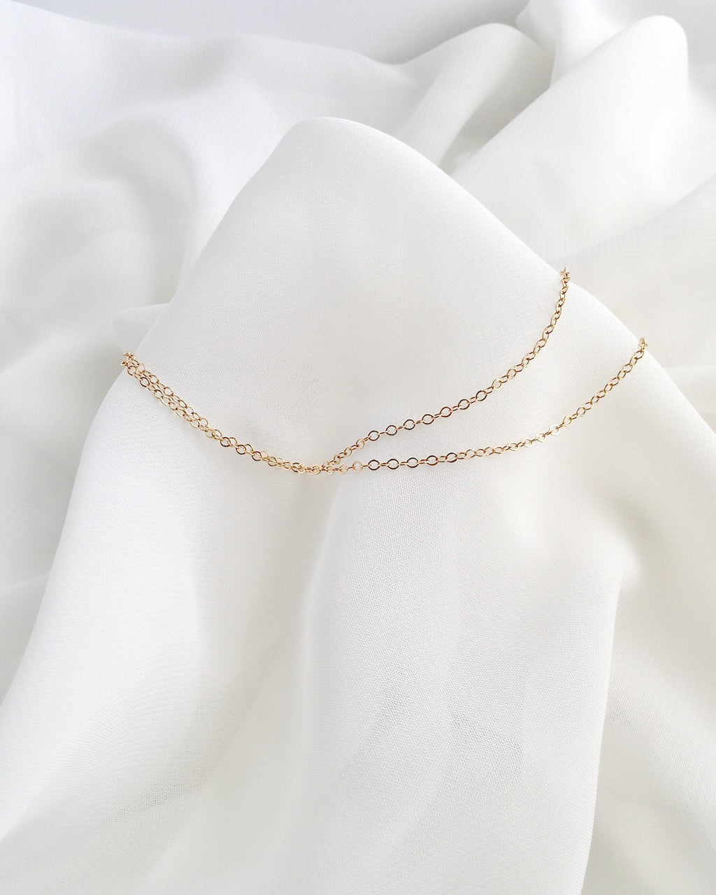 Double Chain Anklet | Simple Delicate Anklet in Gold Filled or Sterling Silver | IB Jewelry