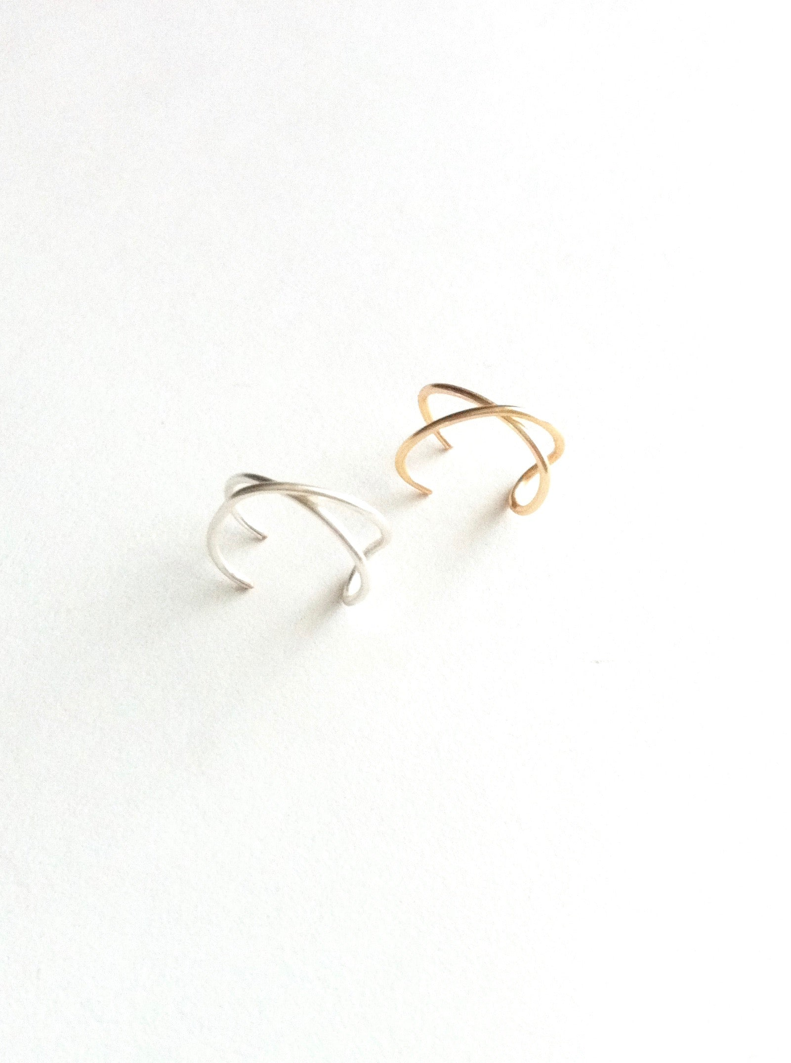 Double Criss Cross Faux Ear Cuff Set | Fake Cartilage Piercing Ear Cuff | Non Pierced Ear Cuff | IB Jewelry