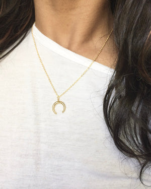 Crescent Moon Double Horn Necklace | Upside Down Horn Necklace | IB Jewelry