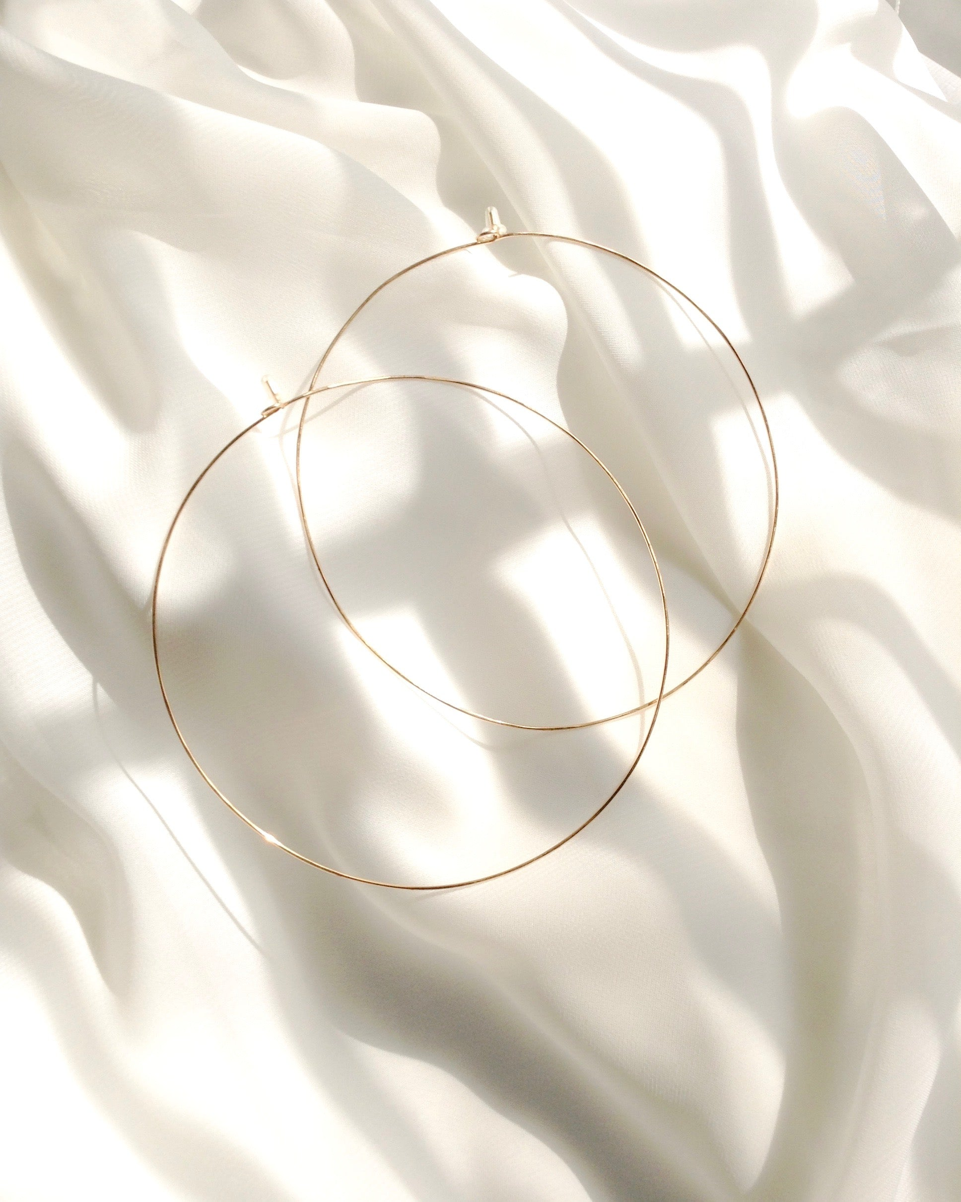 Big Thin Hoop Earrings in Gold Filled Sterling Silver or Rose Gold Filled | IB Jewerlry