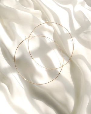 Minimal Big Thin Hoop Earrings in Gold Filled Sterling Silver or Rose Gold Filled | IB Jewerlry