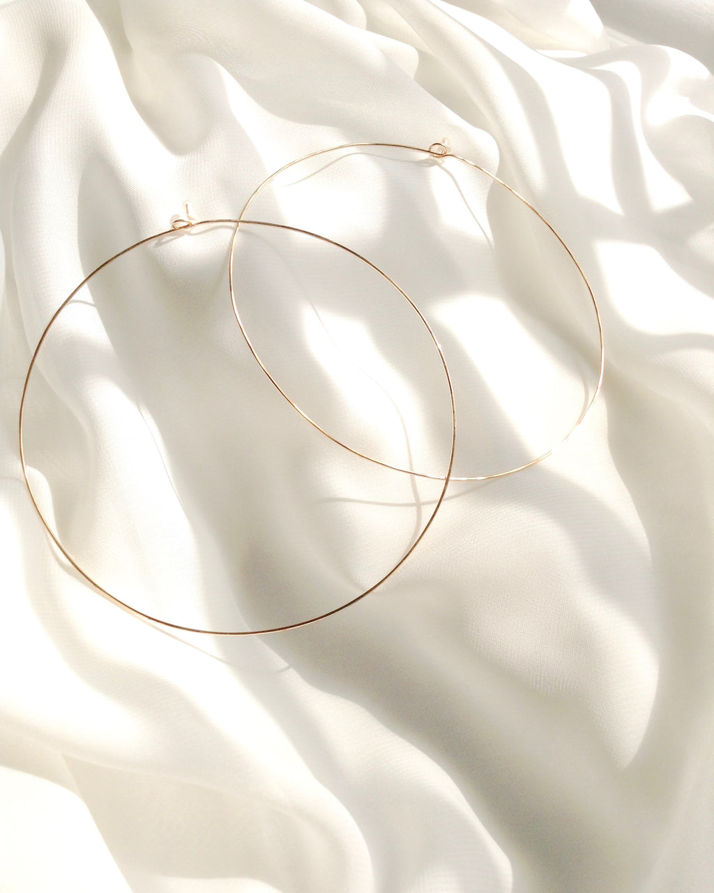 Extra Large Thin Hoop Earrings in Gold Filled Sterling Silver or Rose Gold Filled | IB Jewelry