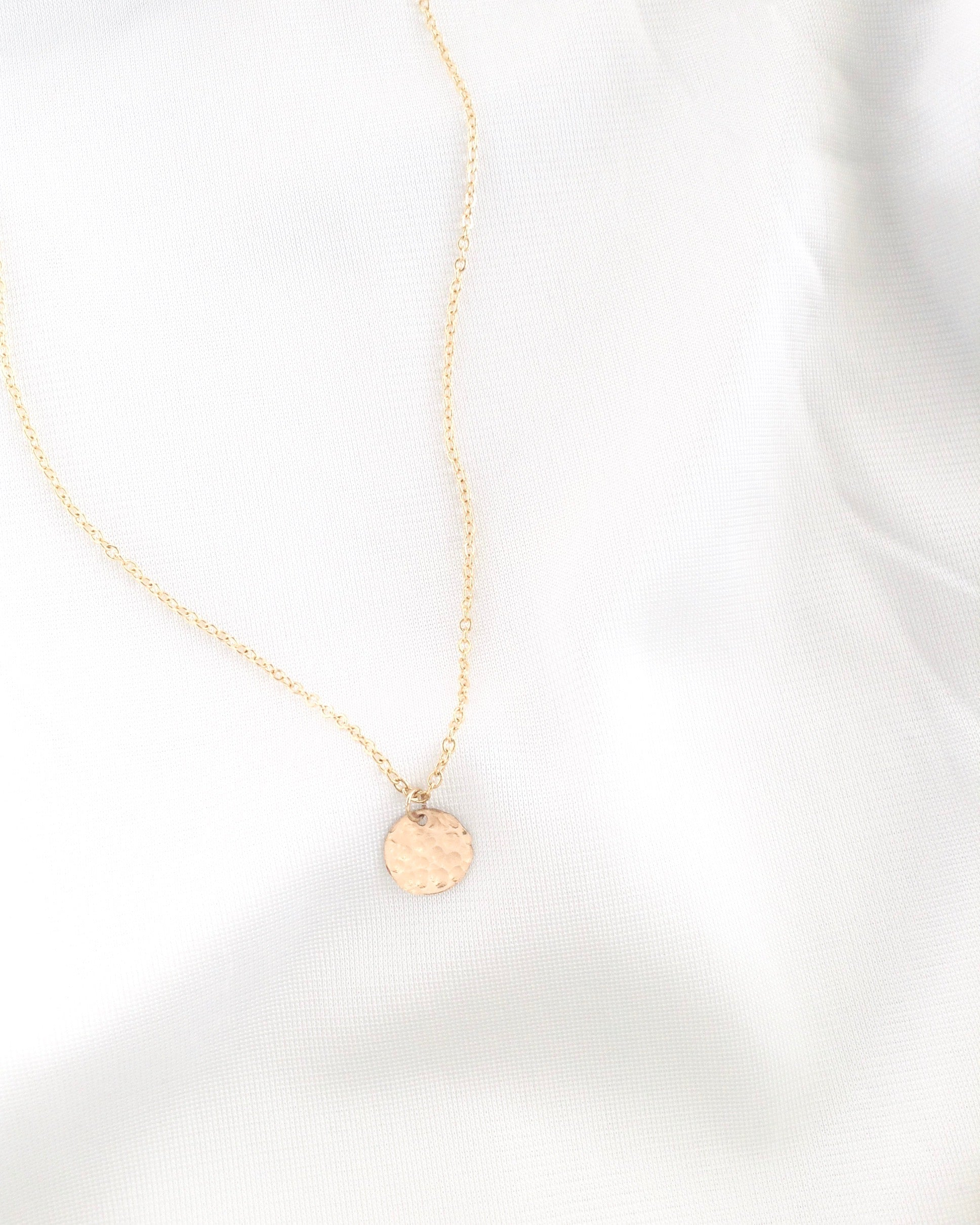 Small Disc Necklace | Simple Delicate Everyday Necklace | IB Jewelry