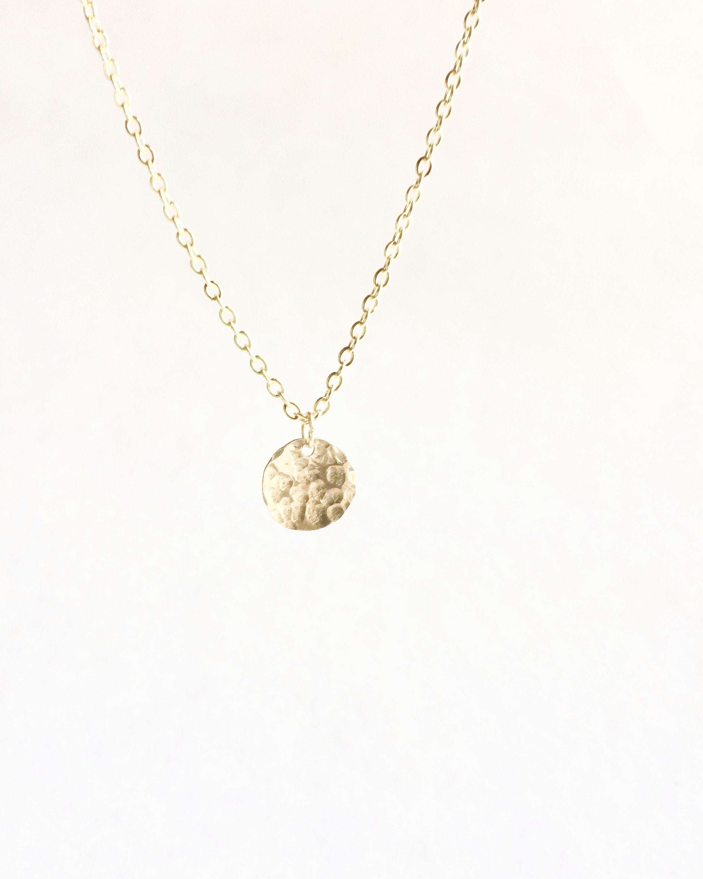 Hammered Tiny Disc Necklace | Delicate Disc Necklace | IB Jewelry