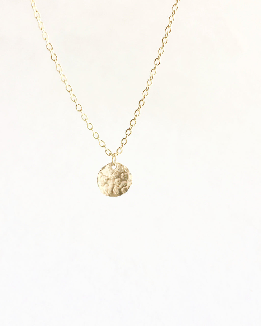 Hammered Tiny Disc Necklace | IB Jewelry