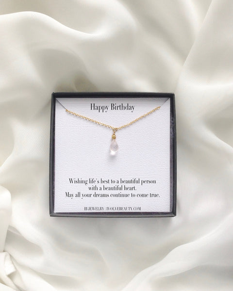 Happy Birthday Rose Quartz Meaningful Necklace