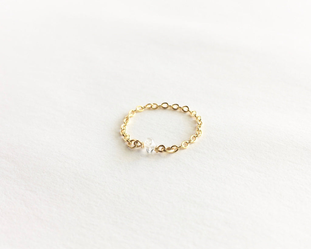 Herkimer Diamond Ring | Thin Delicate Chain Ring | IB Jewelry
