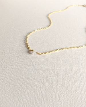 Herkimer Diamond Necklace | Simple Small Dainty Necklace | IB Jewelry