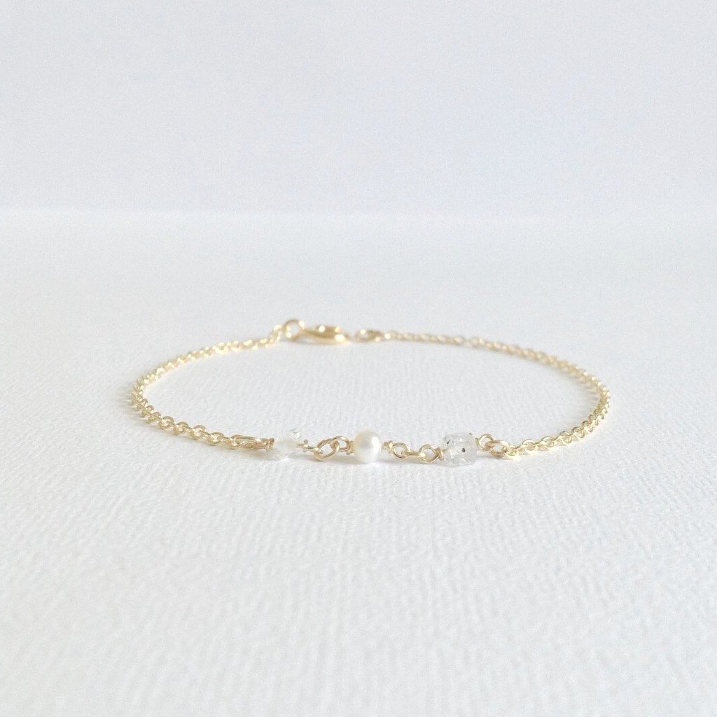 Tiny Herkimer Diamond Pearl Bracelet | Simple Dainty Bracelet | IB Jewelry
