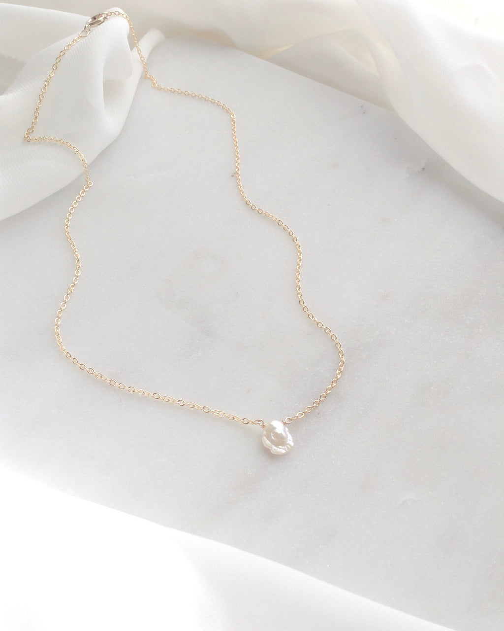 Keshi Pearl Necklace | Delicate Pearl Necklace | IB Jewelry