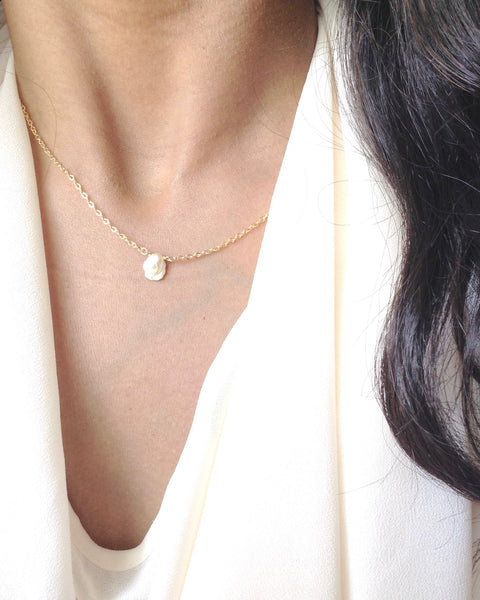 Keshi Pearl Necklace | Small Dainty Necklace | IB Jewelry
