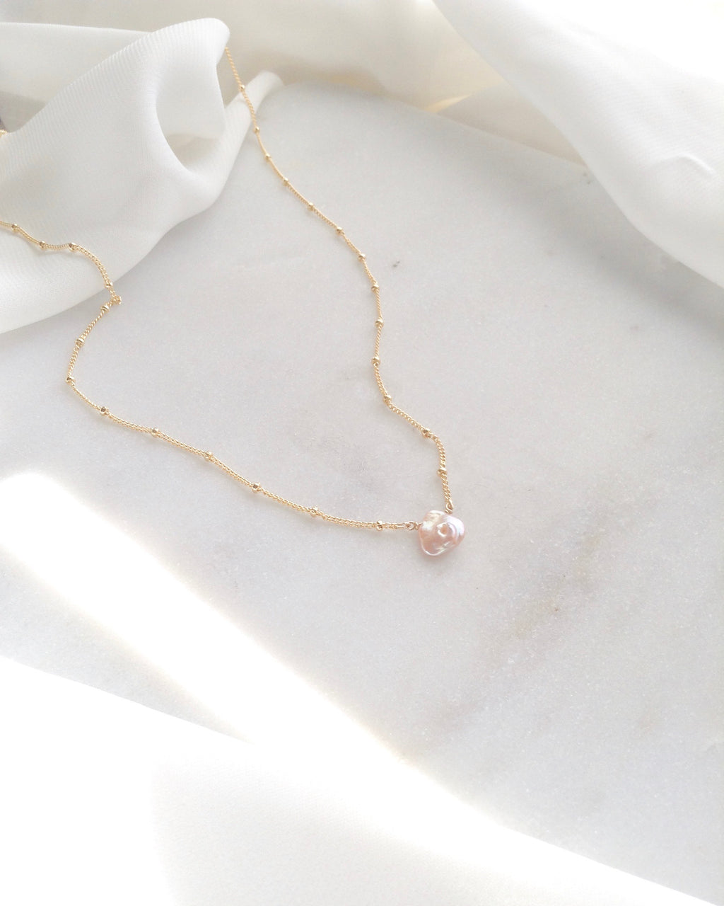 Delicate Keshi Pearl Dew Drop Necklace | IB Jewelry