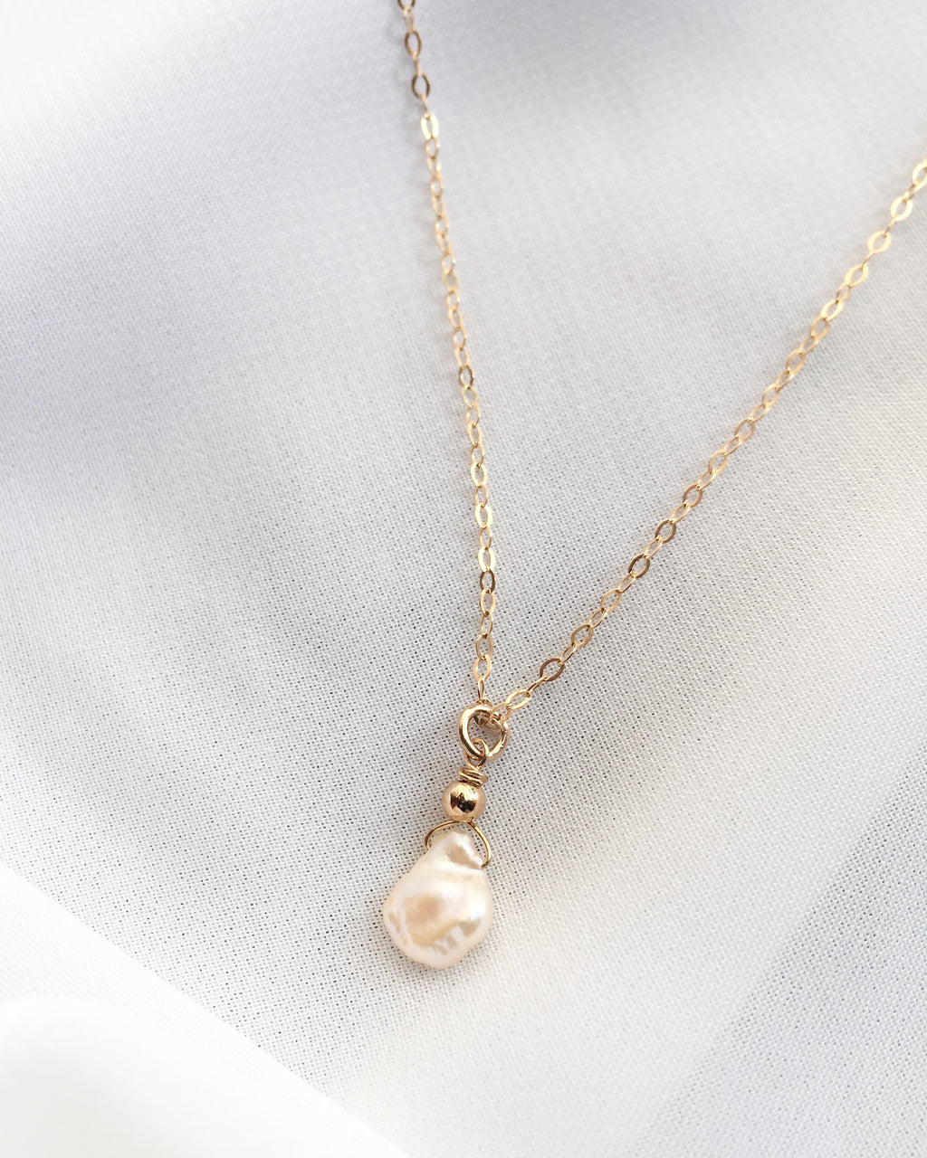 Organic Pearl Necklace in Gold Filled or Sterling Silver | IB Jewelry
