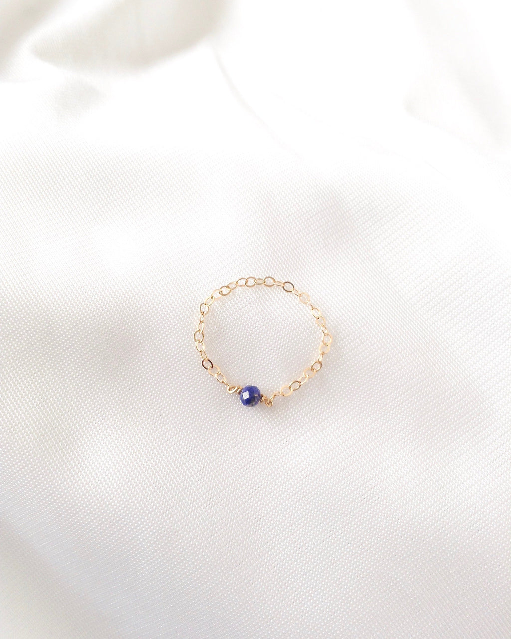 Genuine Lapis Lazuli Dainty Everyday Ring in Gold Filled or Sterling Silver | IB Jewelry