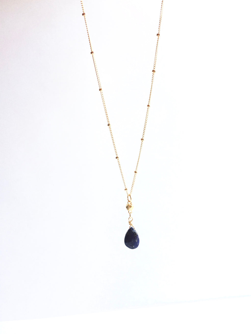 Lapis Lazuli Gemstone Drop Satellite Chain Necklace | IB Jewelry