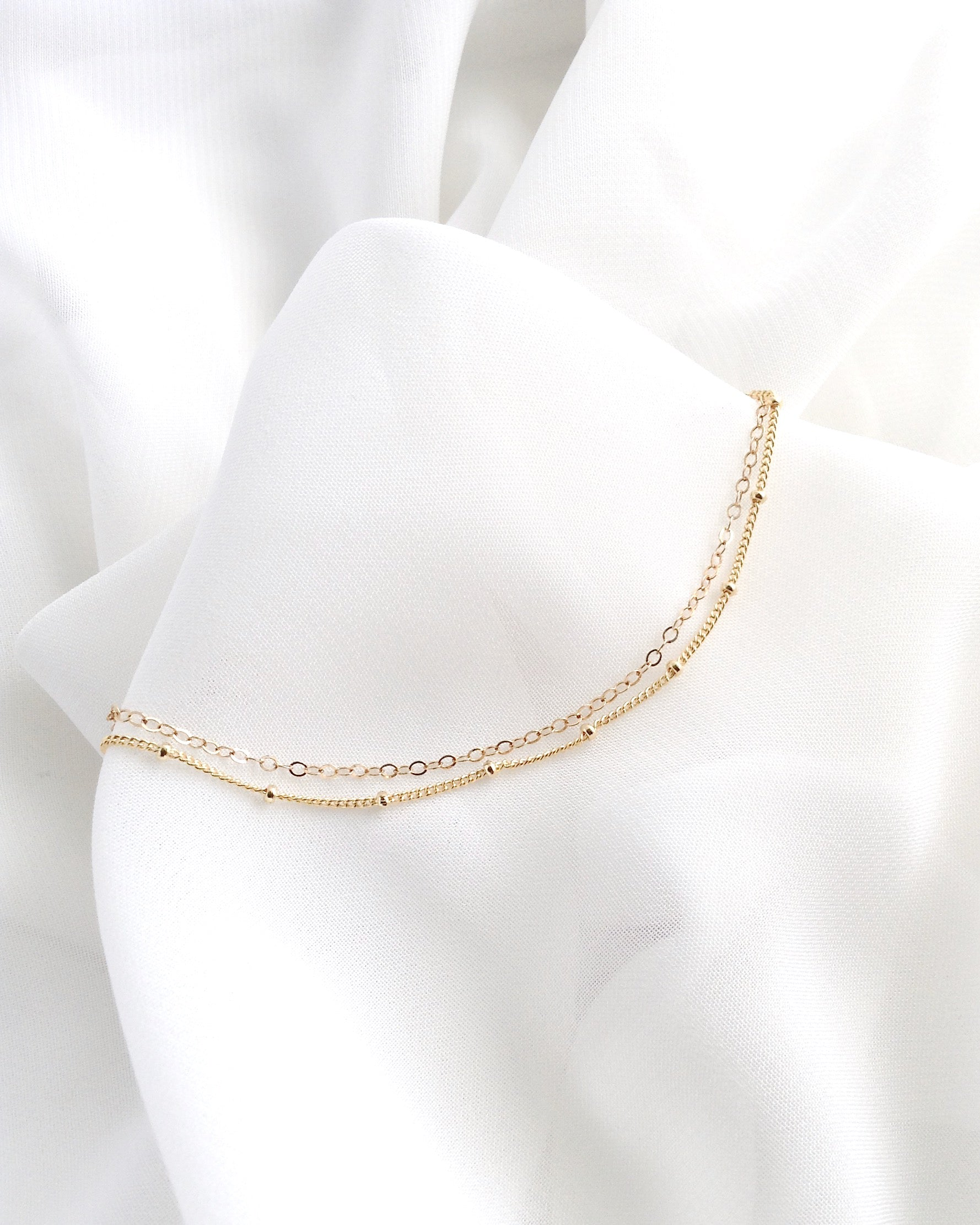 Simple Dainty Double Layer Anklet | Delicate Anklet in Gold Filled or Sterling Silver | IB Jewelry