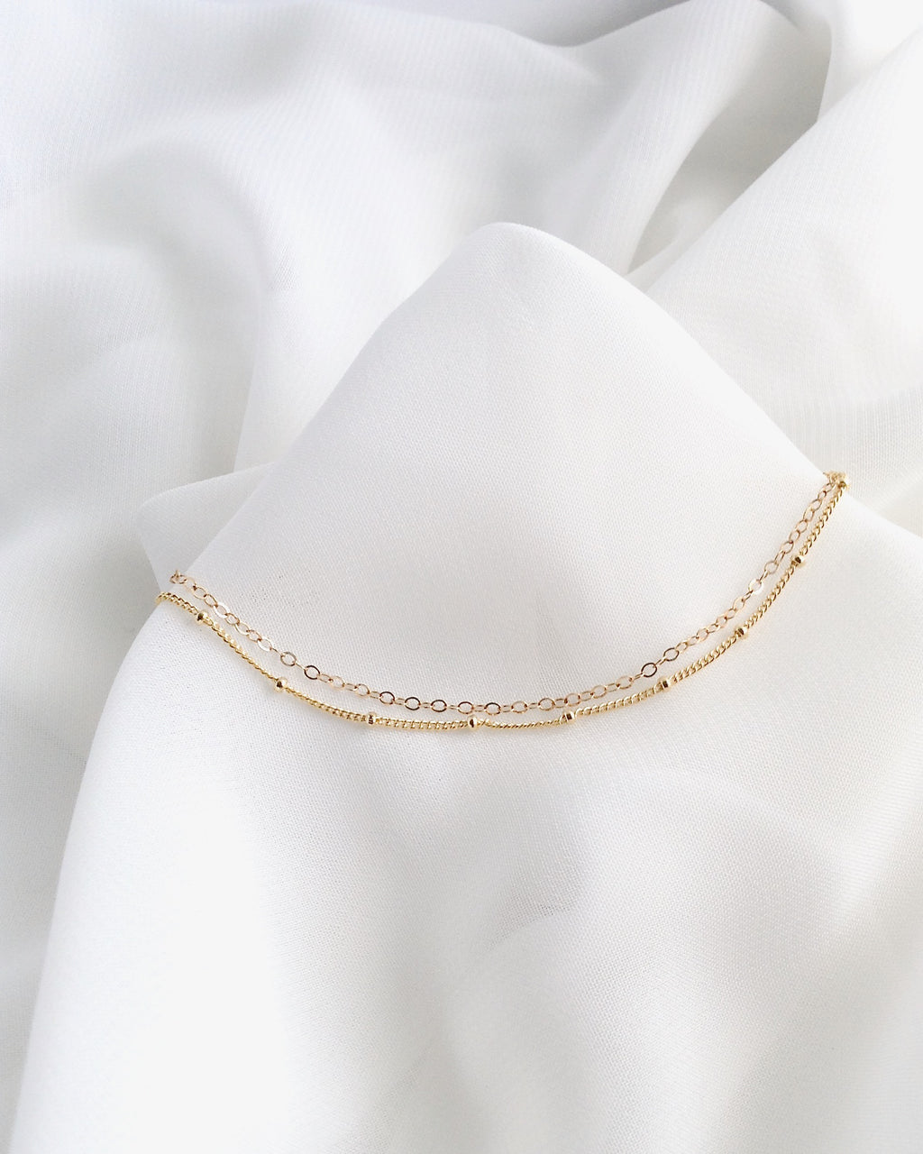 Dainty Anklet | Double Chain Ankle Bracelet | Minimalist Anklet | IB Jewelry
