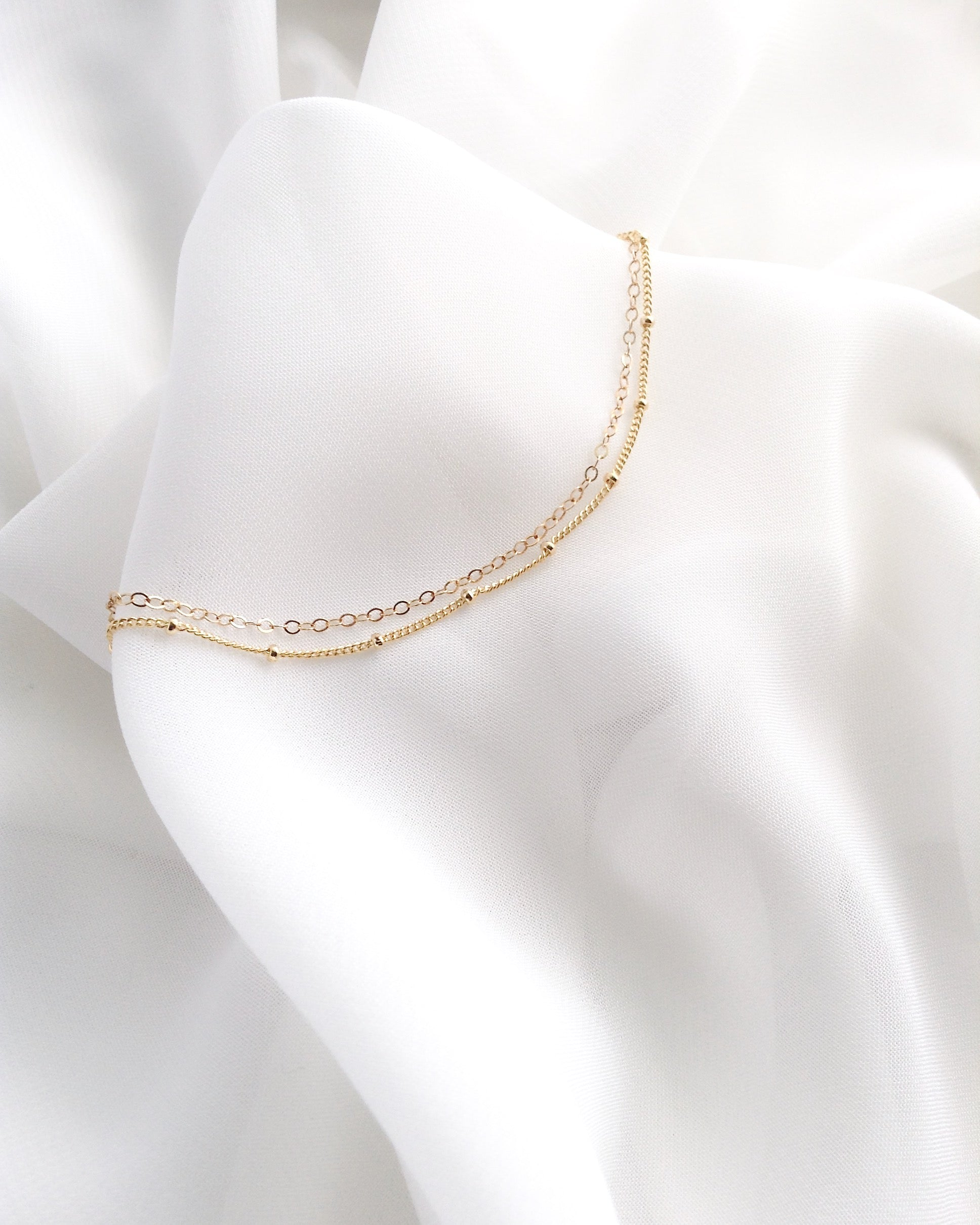 Minimal Anklet | Double Strand Ankle Bracelet in Gold Filled or Sterling Silver | IB Jewelry