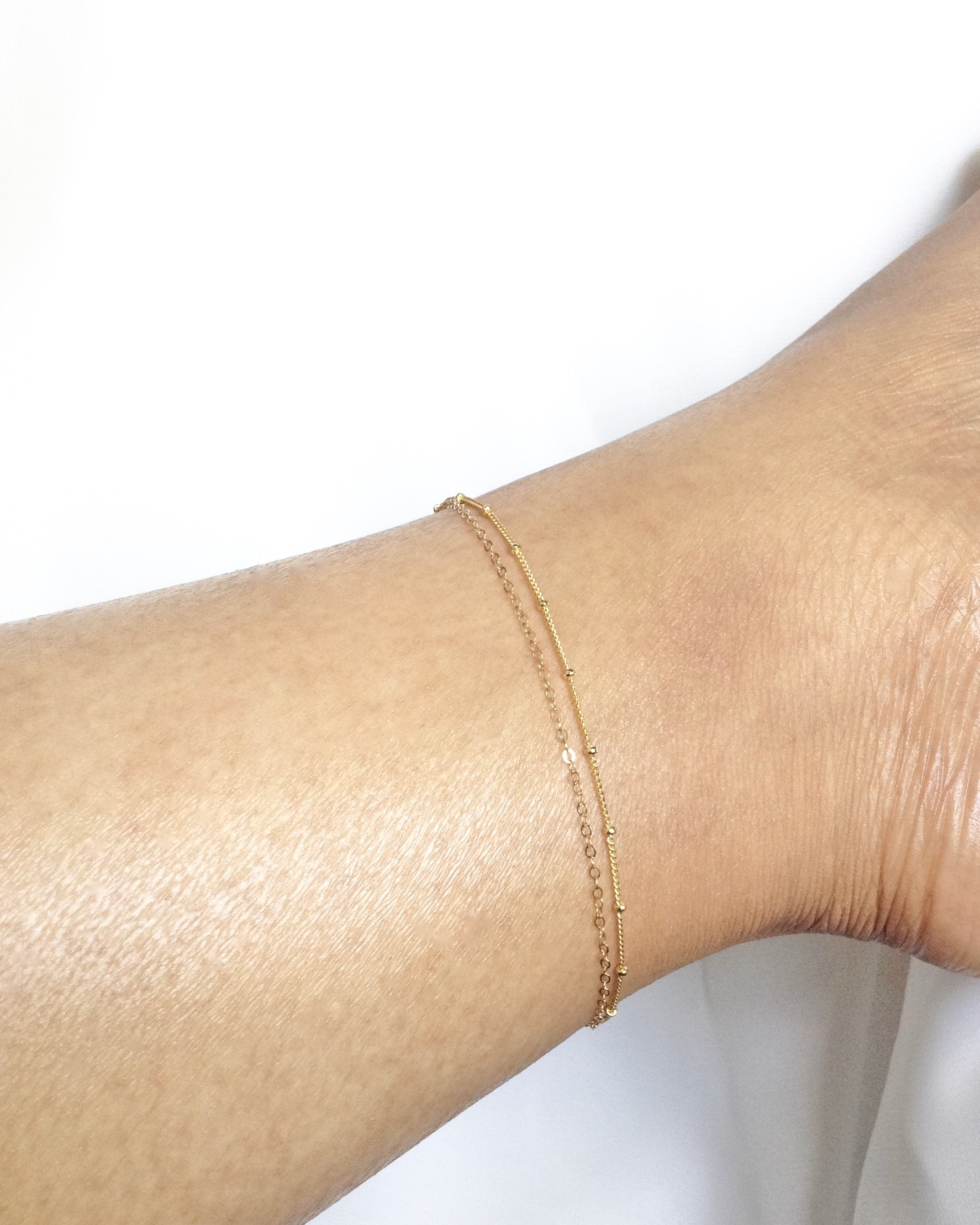 Simple Double Layer Anklet | Dainty Gold Anklet | Delicat Gold Anklet | IB Jewelry