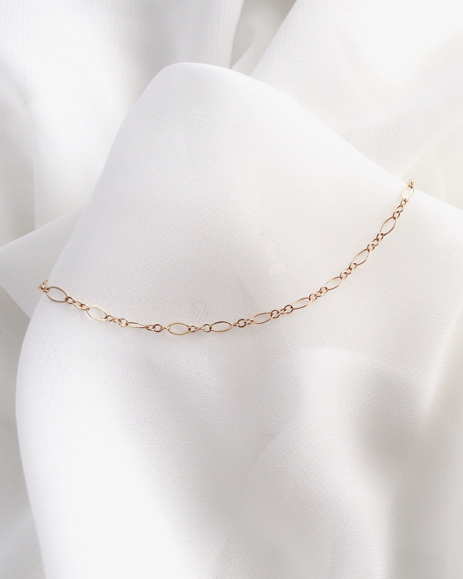 Oval Link Delicate Anklet | Minimal Dainty Anklet in Gold Filled or Sterling Silver | IB Jewelry