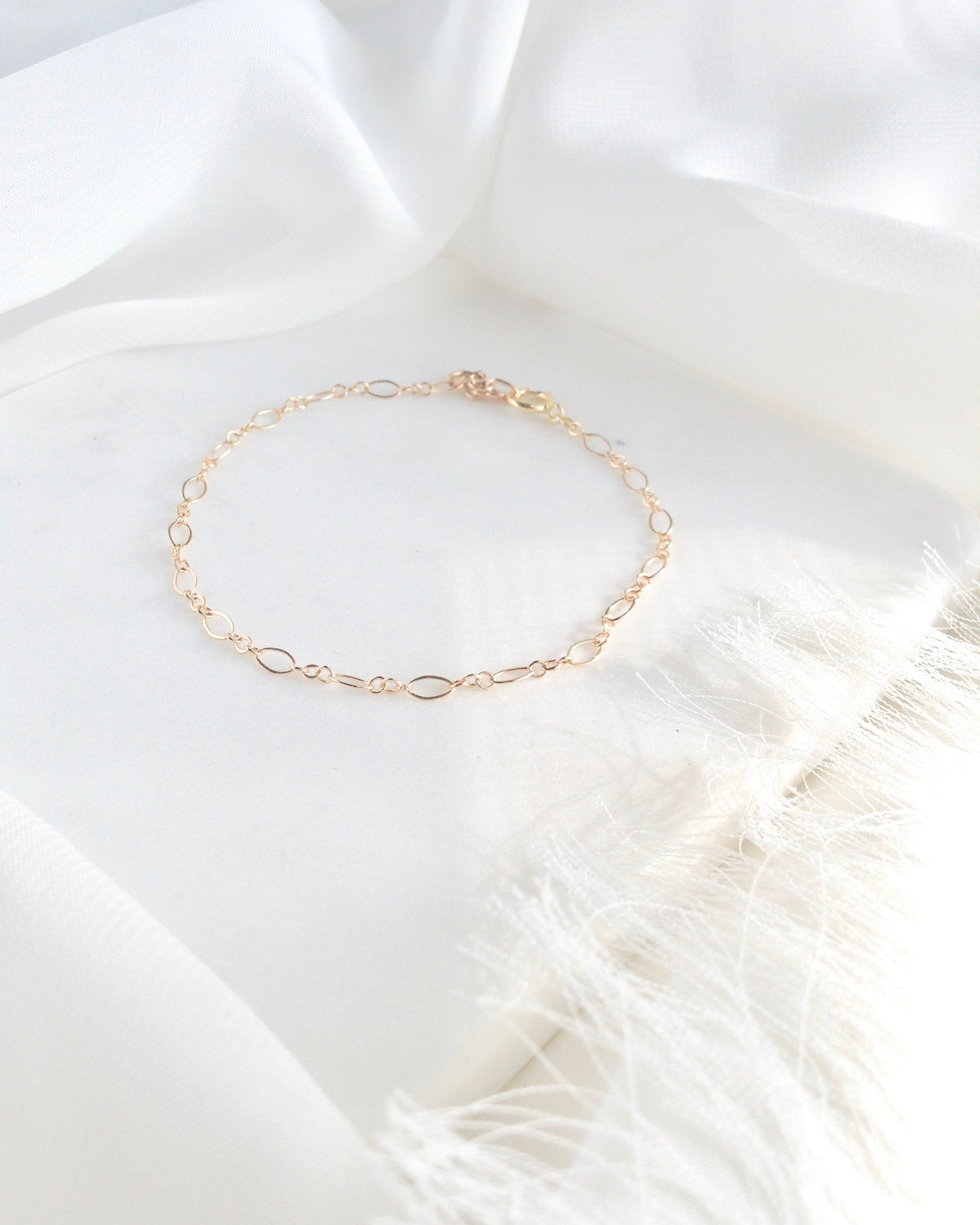 Oval Link Delicate Gold Filled or Sterling Silver Chain Bracelet | IB Jewelry