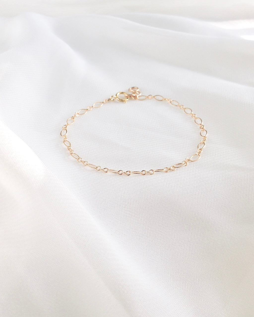 Oval Link Dainty Chain Bracelet in Gold Filled or Sterling Silver | IB Jewelry