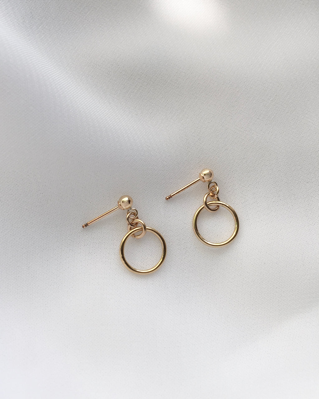 Mini Open Circle Drop Earrings in Gold Filled or Sterling Silver | IB Jewelry