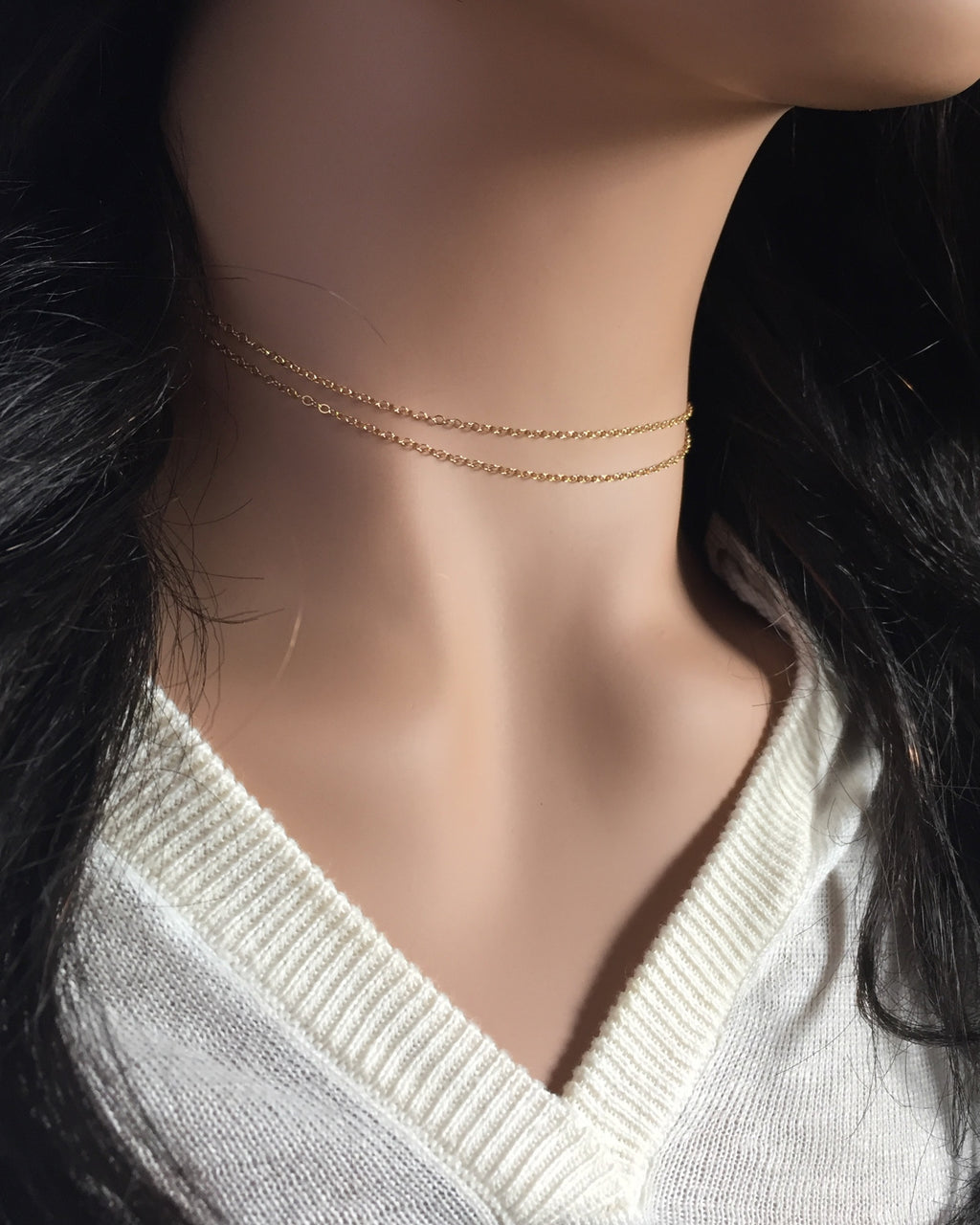 Dainty Choker Necklace | Double Strand Simple Choker Necklace | IB Jewelry