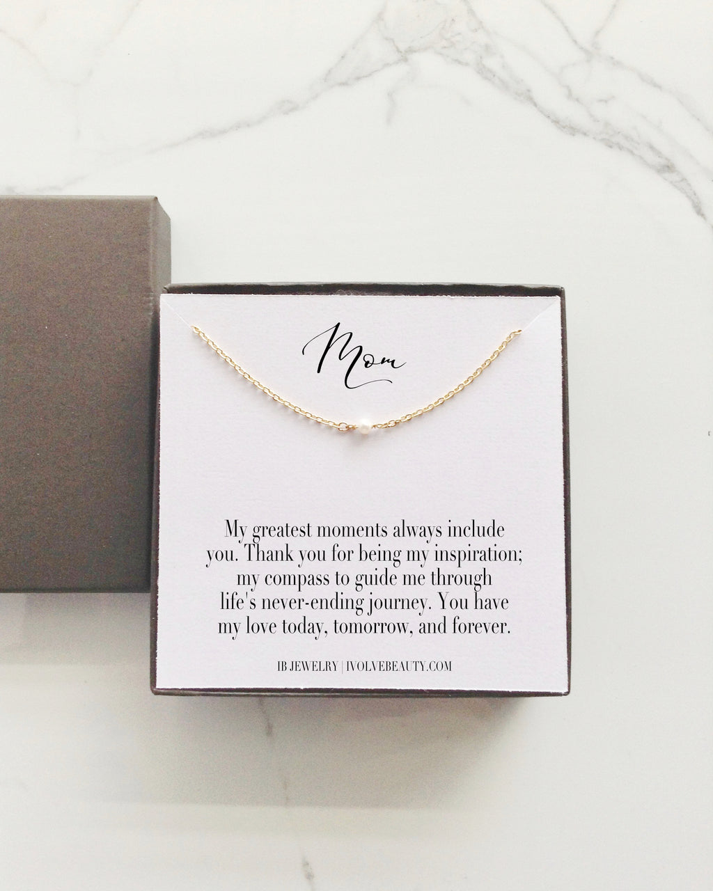 Gift for Mom Tiny Single Pearl Necklace Thank You Gift for Mom