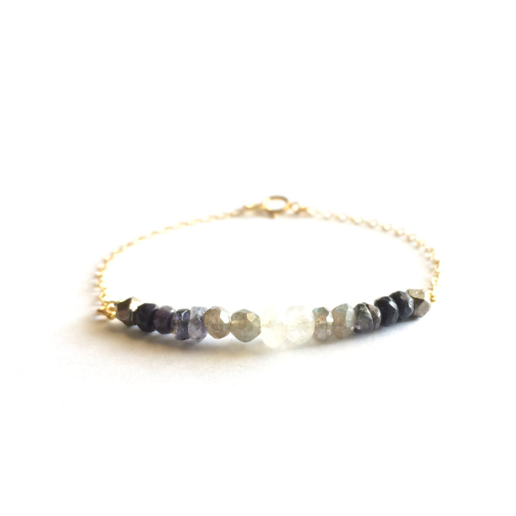 Gemstone Moon Phase Delicate Chain Bracelet | IB Jewelry