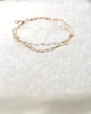 Delicate Layered Bracelet | Multi 3 Strand Layered Chain Bracelet  |  IB Jewelry