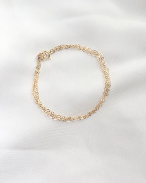 Dainty Layered Chain Bracelet in Gold Filled or Sterling Silver | Delicate Layering Bracelet | IB Jewelry