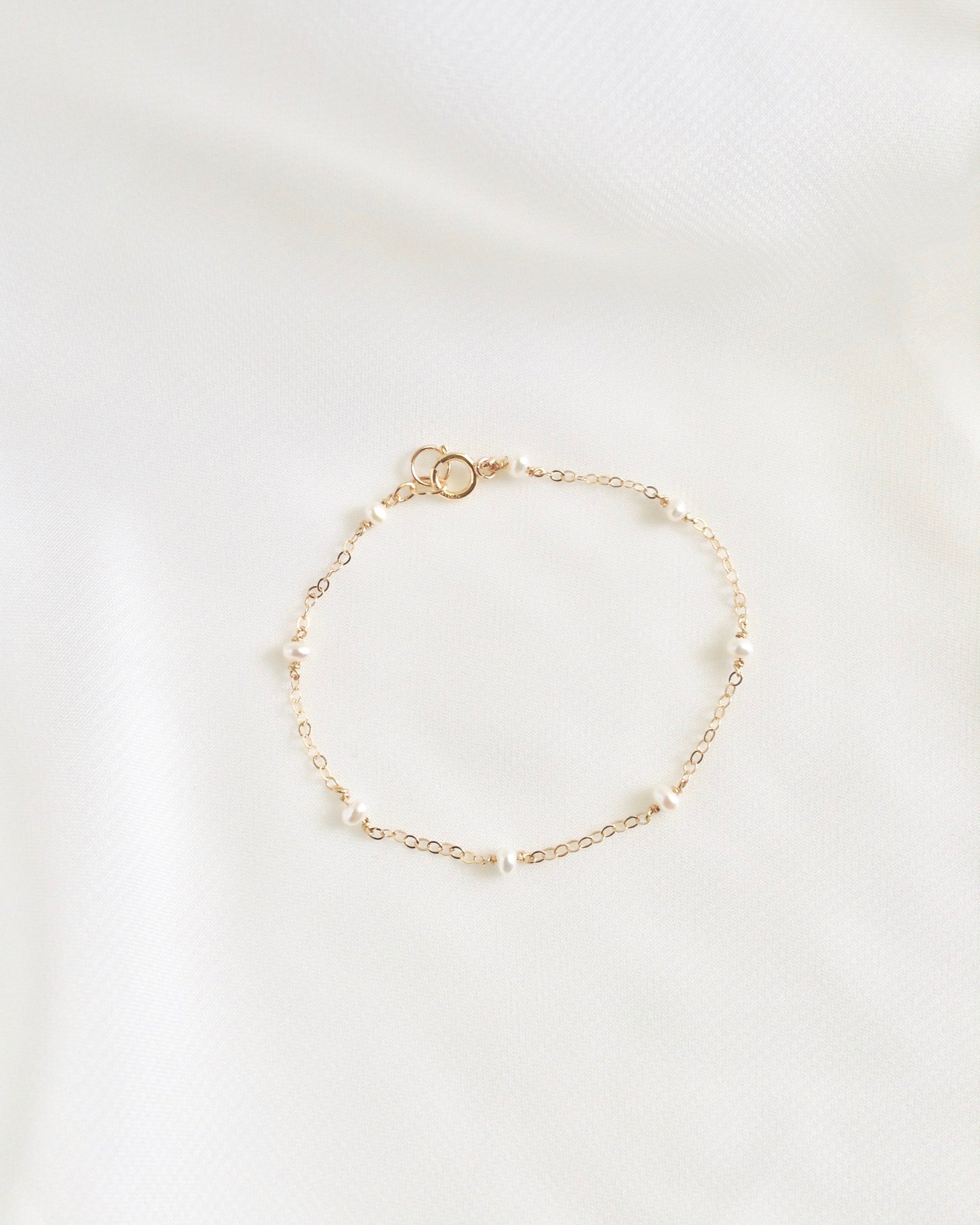 Dainty Pearl Chain Bracelet | Tiny Minimalist Pearl Bracelet In Gold Filled or Sterling Silver | IB Jewelry