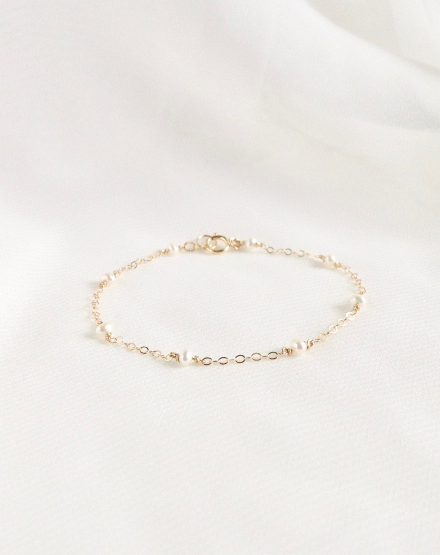 Pearl Thin Chain  Bracelet | Simple Dainty Freshwater Pearl Chain Bracelet In Gold Filled or Sterling Silver | IB Jewelry