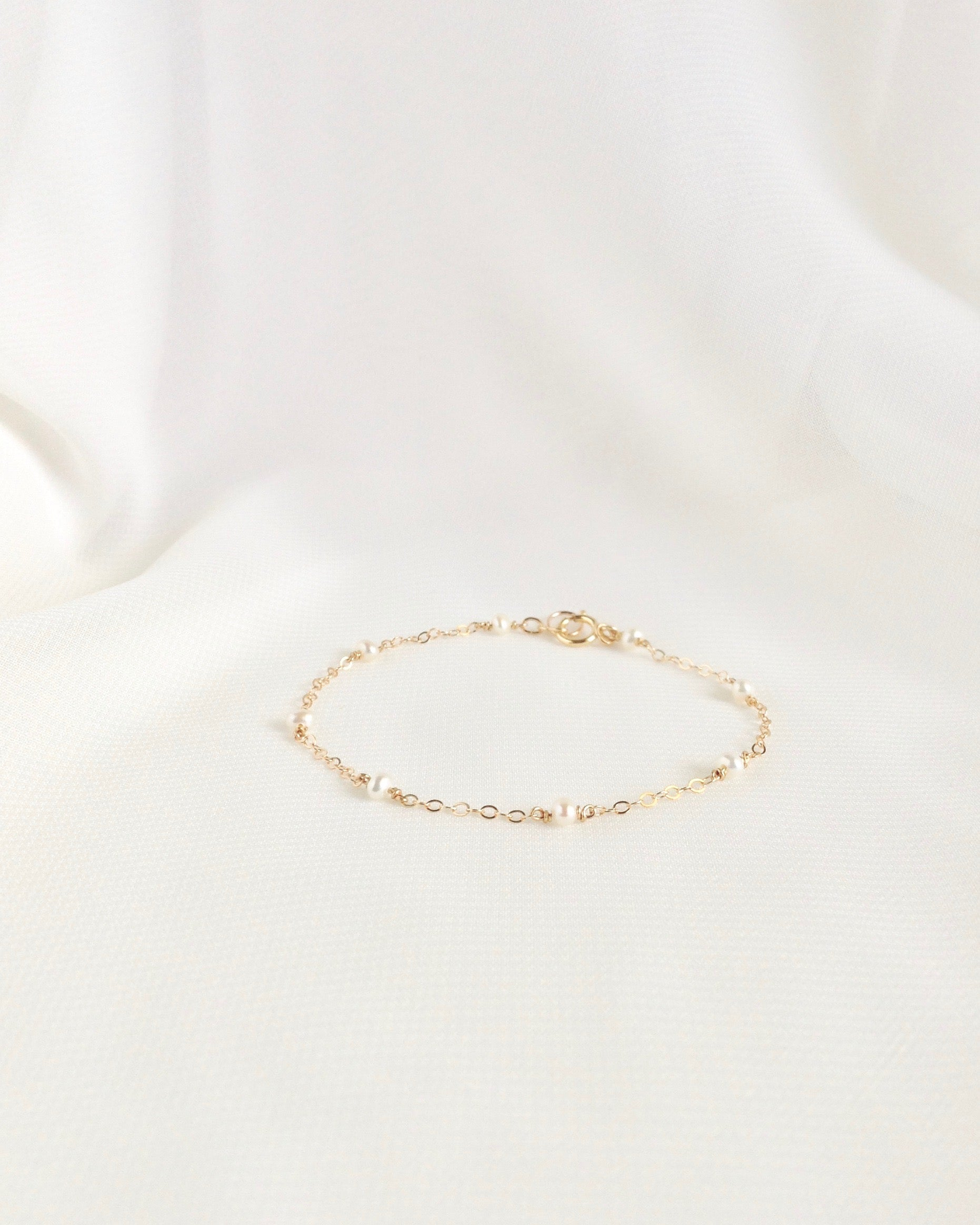 Dainty Pearl Bracelet | Simple Delicate Pearl Bracelet In Gold Filled or Sterling Silver | IB Jewelry