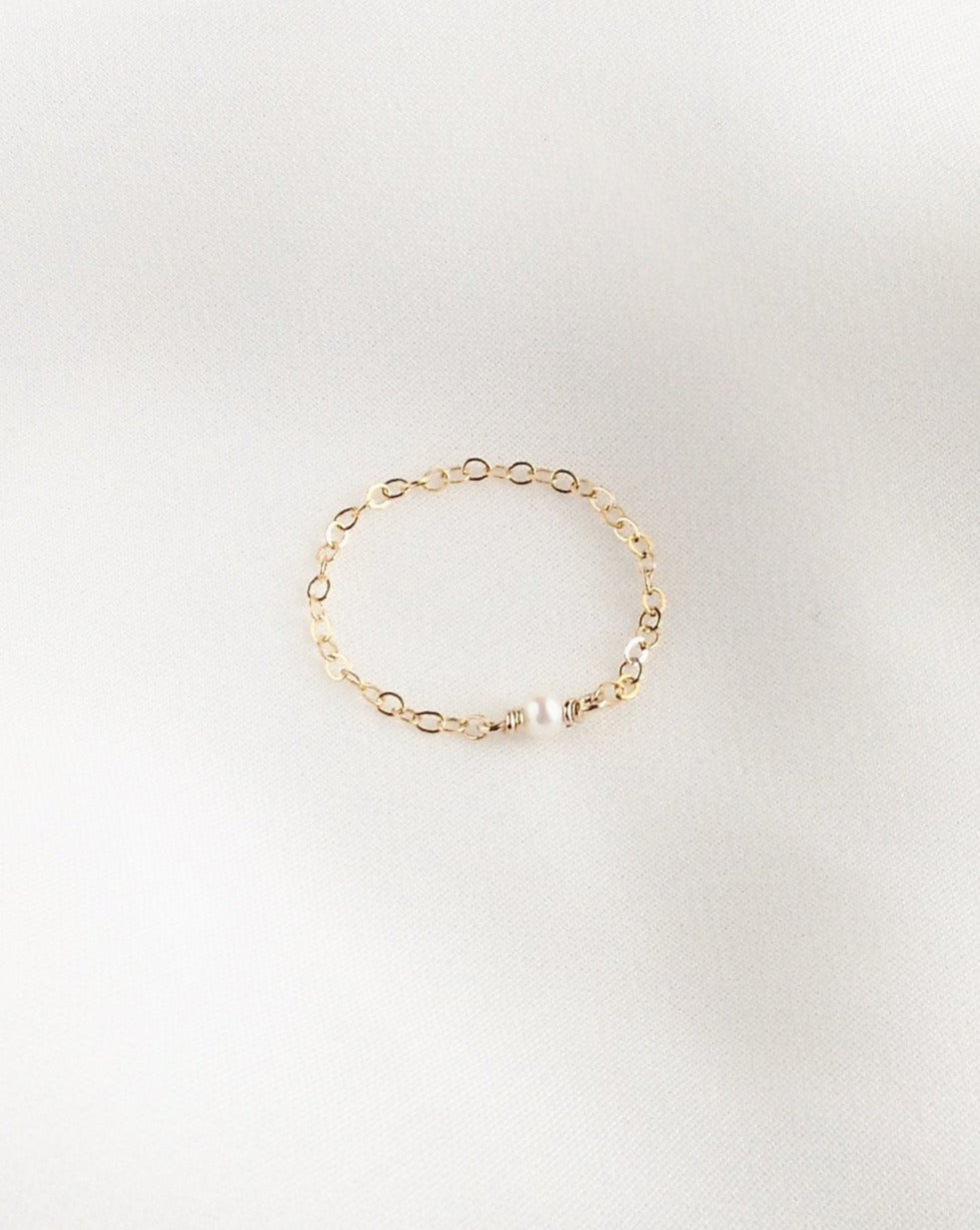 Tiny Pearl Chain Ring | Dainty Pearl Ring | IB Jewelry